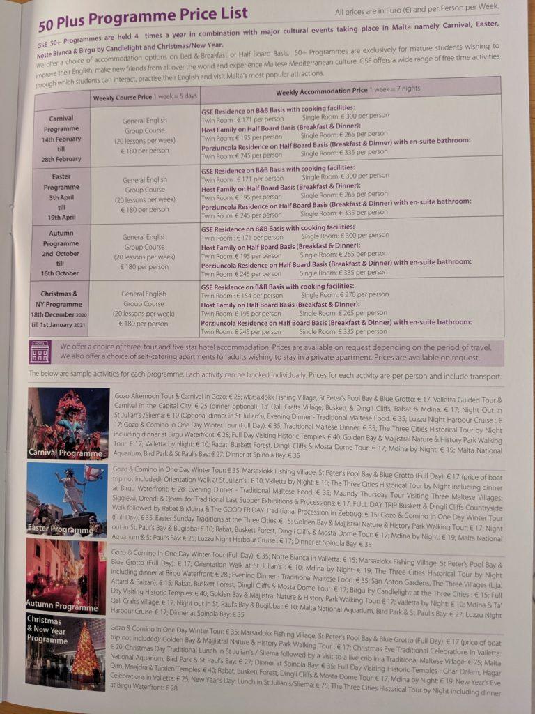 GSE Malta Englisch Schule für ältere Studenten 50+ Sprachreisen Senioren Preisliste 2020