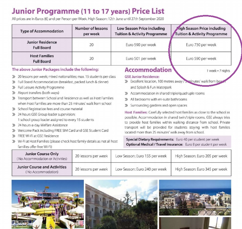 Preisliste für die GSE Gateway School of English Junior-Programme 2020 das ganze Jahr über