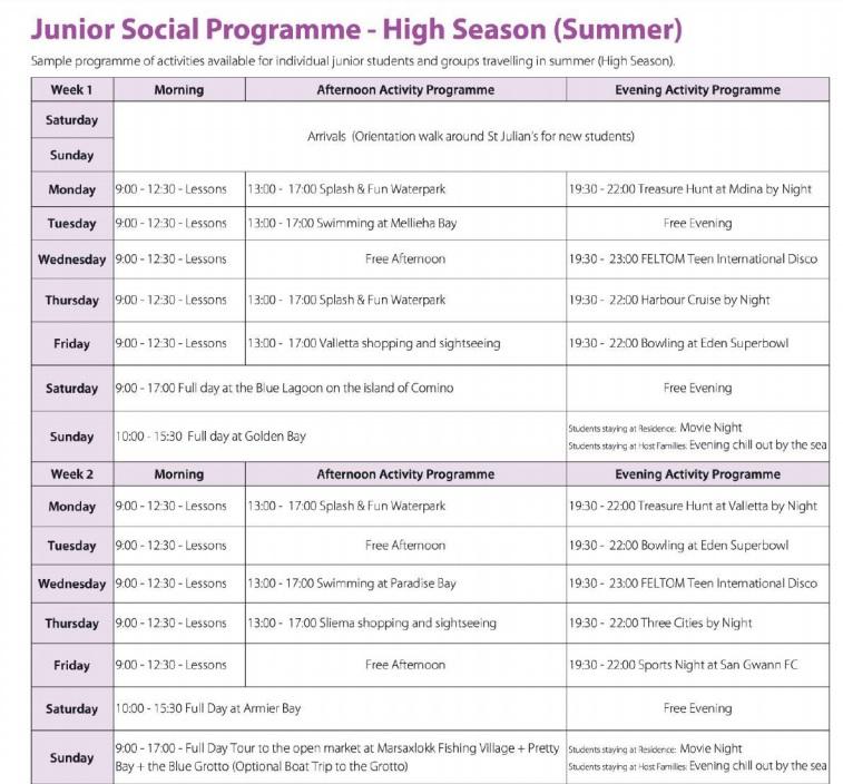 Programmbeispiel für das sommerliche Freizeit- und Kulturprogramm der Hochsaison Sprachreisen Teenagers Jugendliche Juniorprogrammen Schuler Malta